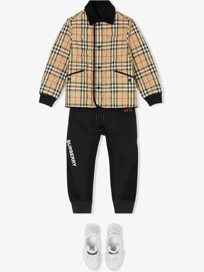 BURBERRY CHILDREN: Vintage check nylon quilted jacket Color Neutral_2