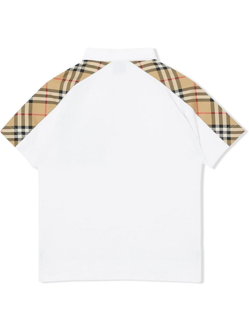 BURBERRY CHILDREN: Vintage check-detailed cotton polo shirt Color White_2