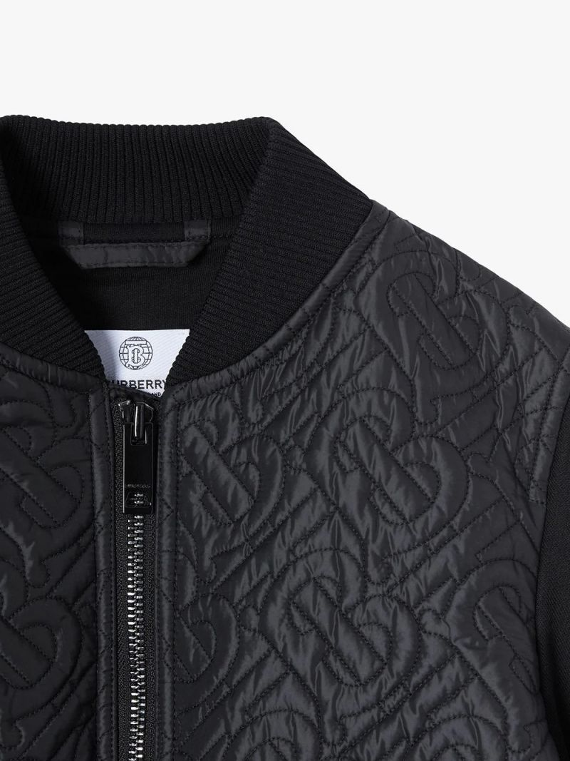 BURBERRY CHILDREN: monogram quilted recycled nylon bomber jacket Color Black_2