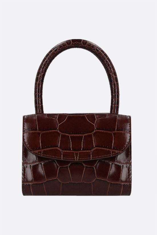 BY FAR: croc-embossed leather mini handbag Color Brown_1