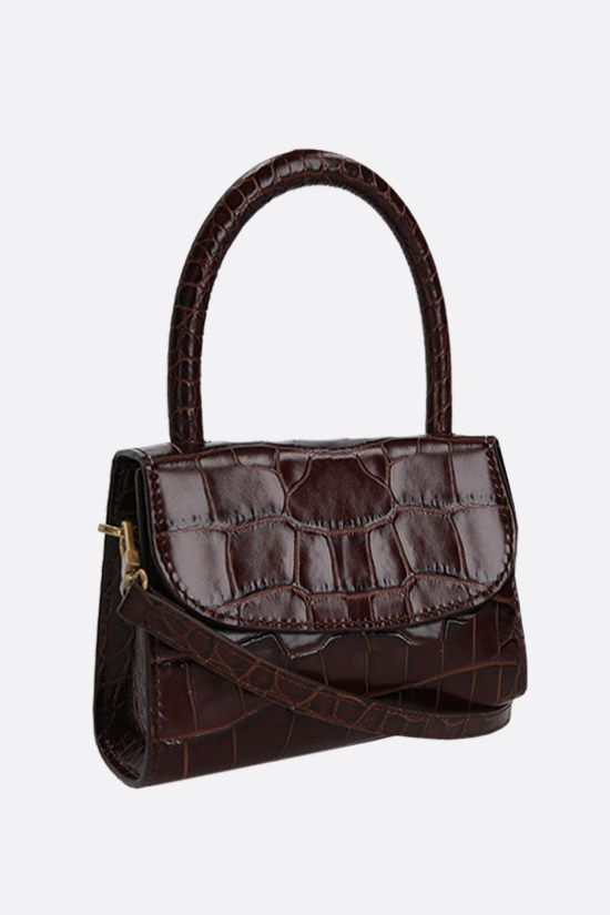 BY FAR: croc-embossed leather mini handbag Color Brown_2