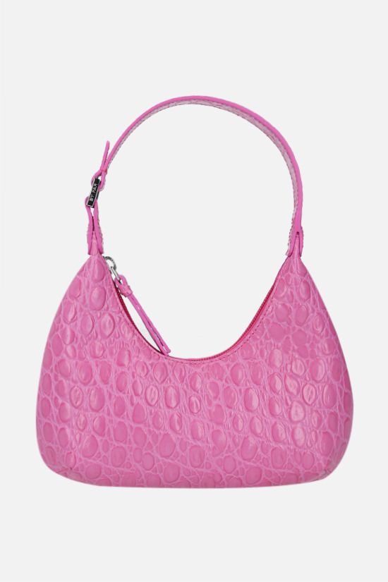 BY FAR: Amber baby croc-embossed leather top handle bag Color Purple_1