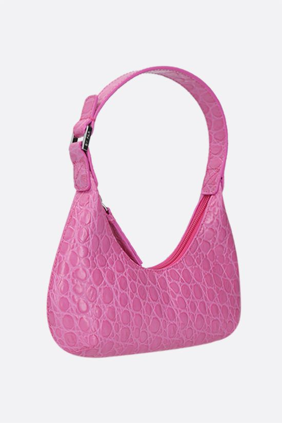 BY FAR: Amber baby croc-embossed leather top handle bag Color Purple_2