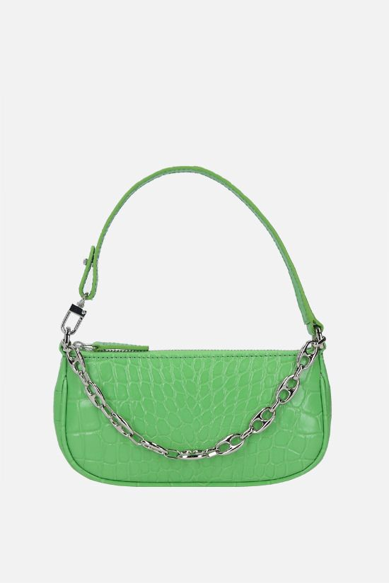 BY FAR: Rachel mini crocodile embossed leather handbag Color Green_1