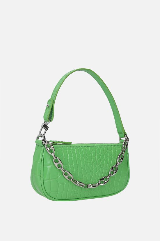 BY FAR: Rachel mini crocodile embossed leather handbag Color Green_2