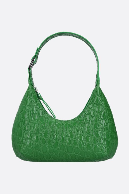 BY FAR: Amber baby croc-embossed leather top handle bag Color Green_1