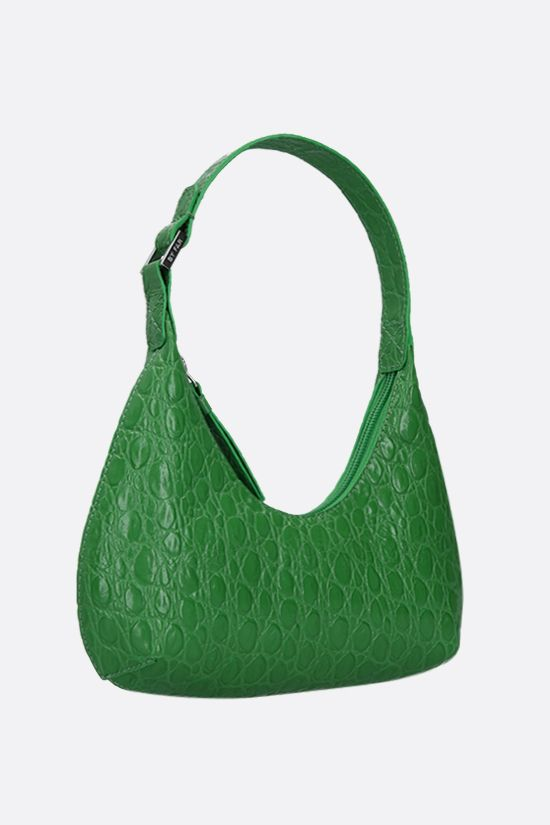 BY FAR: Amber baby croc-embossed leather top handle bag Color Green_2