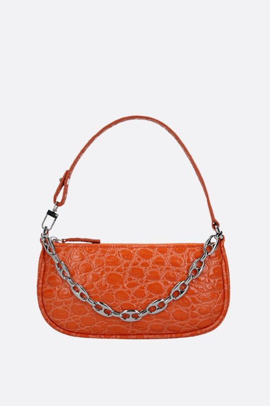BY FAR: Rachel mini croc-embossed leather handbag Color Orange_1