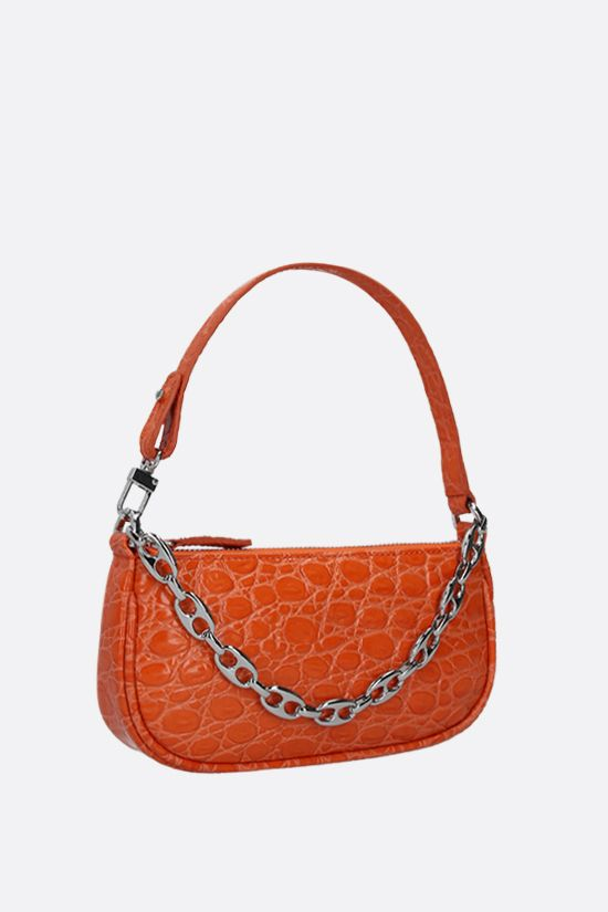 BY FAR: Rachel mini croc-embossed leather handbag Color Orange_2