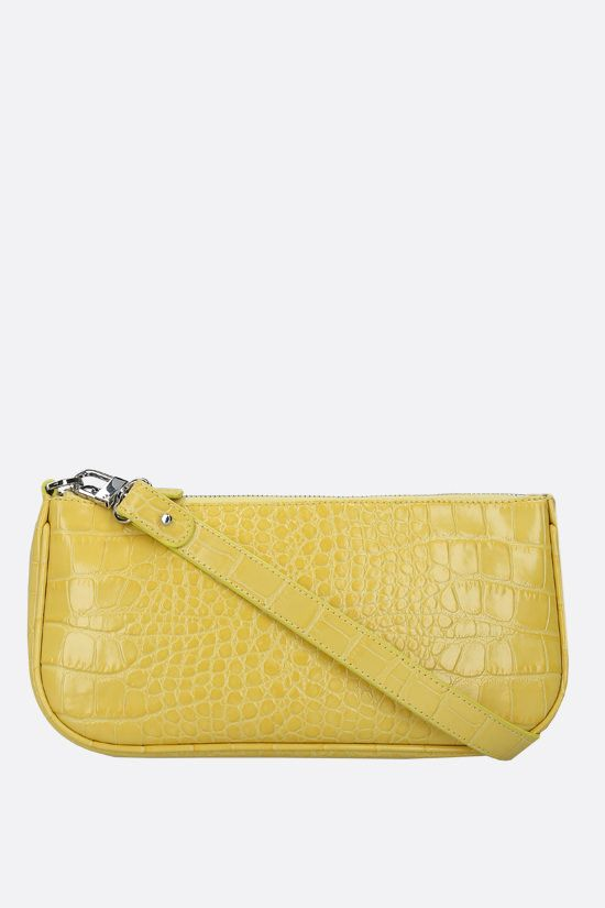 BY FAR: Rachel crocodile embossed leather shoulder bag Color Yellow_1