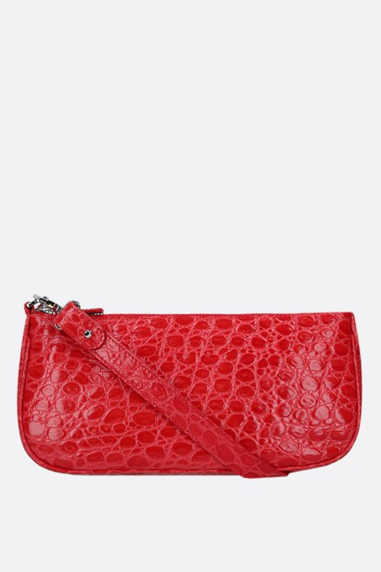 BY FAR: Rachel crocodile embossed leather shoulder bag Color Red_1