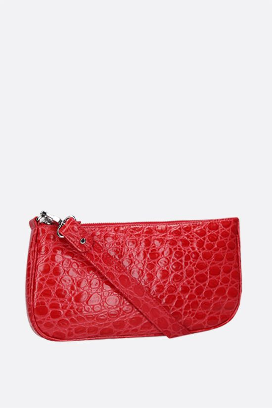 BY FAR: Rachel crocodile embossed leather shoulder bag Color Red_2