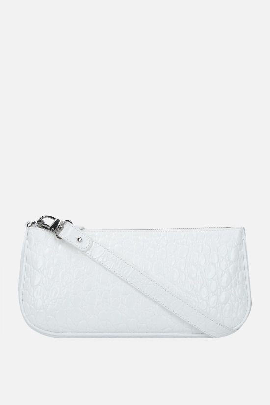 BY FAR: Rachel crocodile embossed leather shoulder bag Color White_1