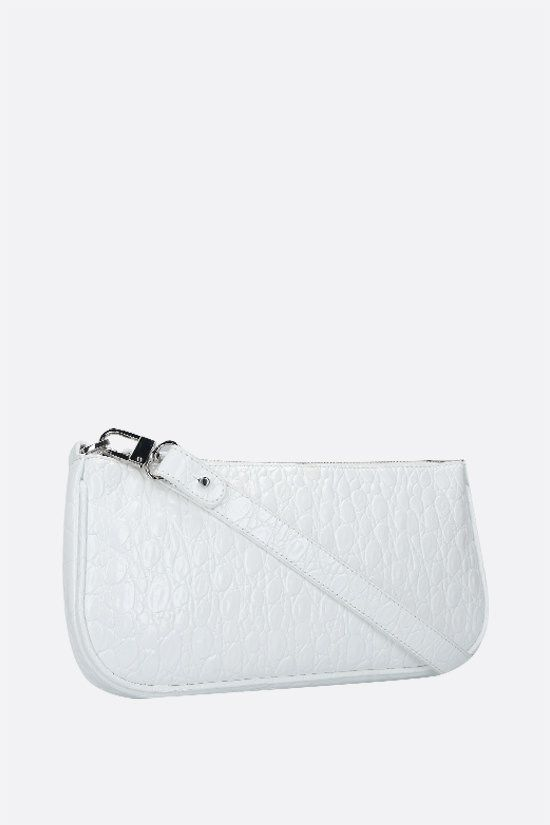 BY FAR: Rachel crocodile embossed leather shoulder bag Color White_2