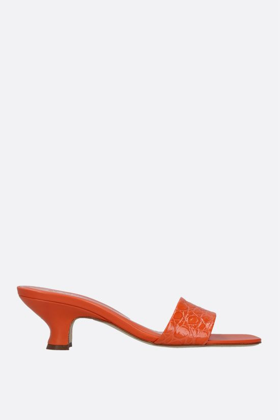 BY FAR: Freddy croc-embossed leather mule sandals Color Orange_1