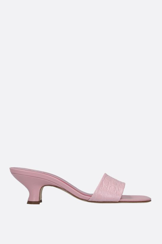 BY FAR: Freddy croc-embossed leather mule sandals Color Pink_1