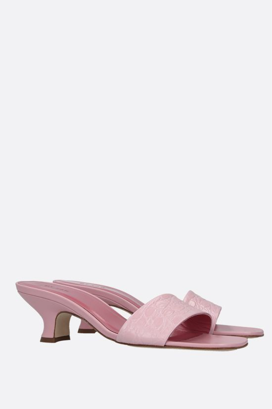 BY FAR: Freddy croc-embossed leather mule sandals Color Pink_2