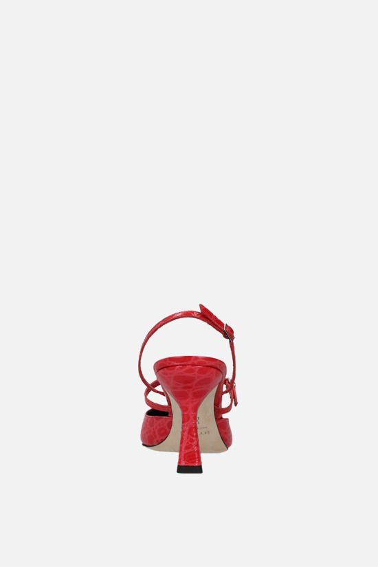 BY FAR: Tiffany croc-embossed leather slingbacks Color Red_4