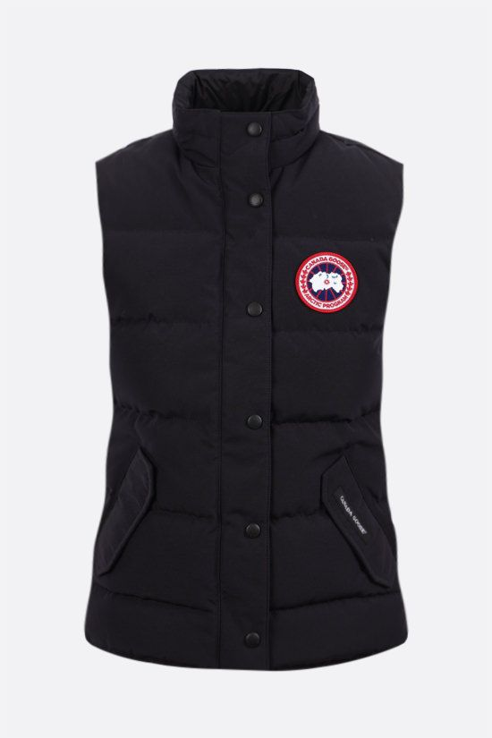CANADA GOOSE: Freestyle technical canvas sleeveless down jacket Color Blue_1