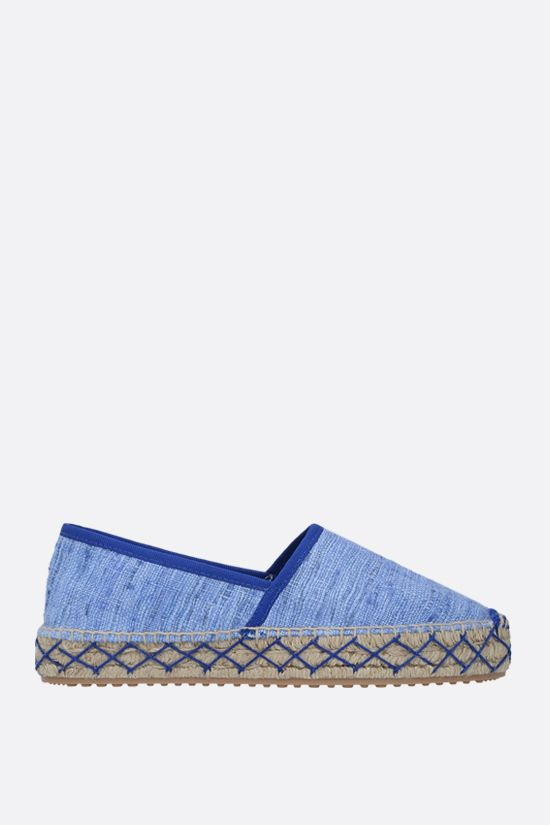 CAR SHOE: espadrilla in seta grezza Colore Blu_1