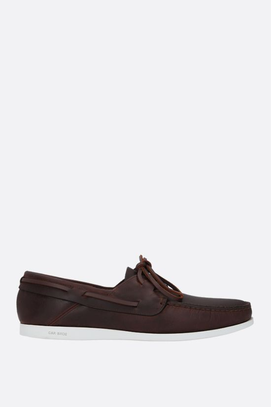 CAR SHOE: smooth leather boat shoes Color Brown_1