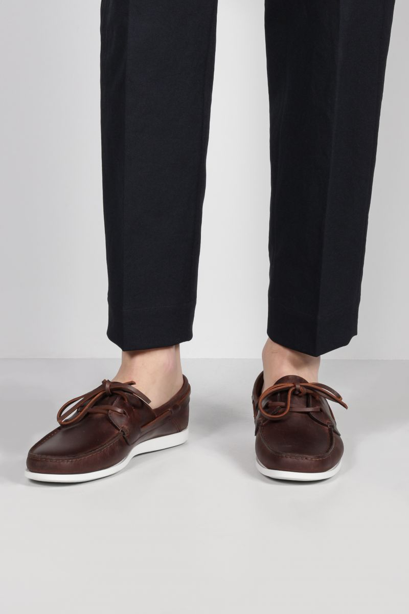 CAR SHOE: smooth leather boat shoes Color Brown_2