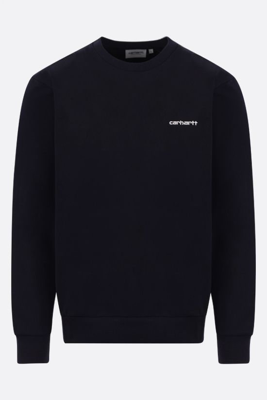 CARHARTT WIP: logo embroidered jersey sweatshirt Color Blue_1