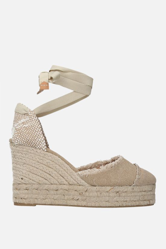CASTANER: Catalina canvas and jute wedge sandals Color Neutral_1