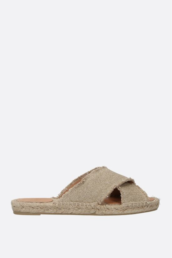CASTANER: Palmera canvas and lurex flat sandals Color Gold_1