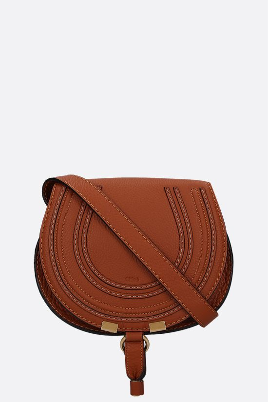 CHLOÈ: Marcie mini grainy leather shoulder bag Color Brown_1