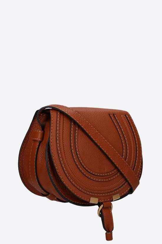 CHLOÈ: Marcie mini grainy leather shoulder bag Color Brown_2