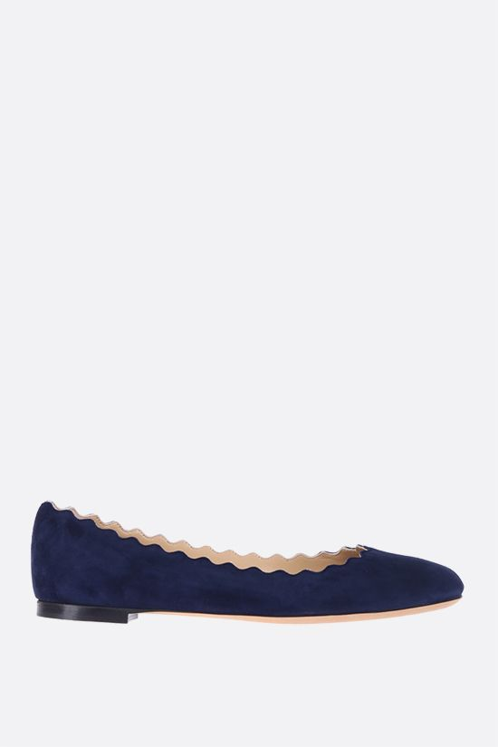CHLOÈ: Lauren suede ballerinas Color Blue_1