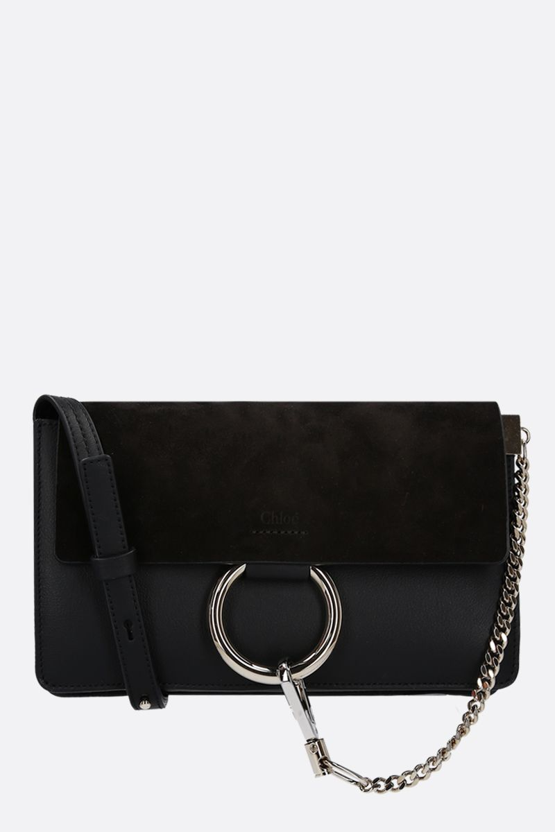 CHLOÈ: Faye small smooth leather and suede shoulder bag Color Black_1