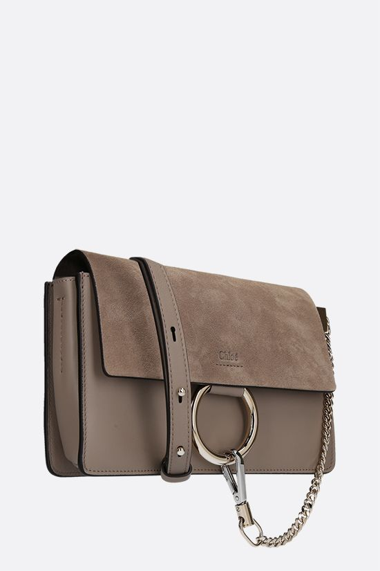 CHLOÈ: Faye small smooth leather and suede shoulder bag Color Grey_2