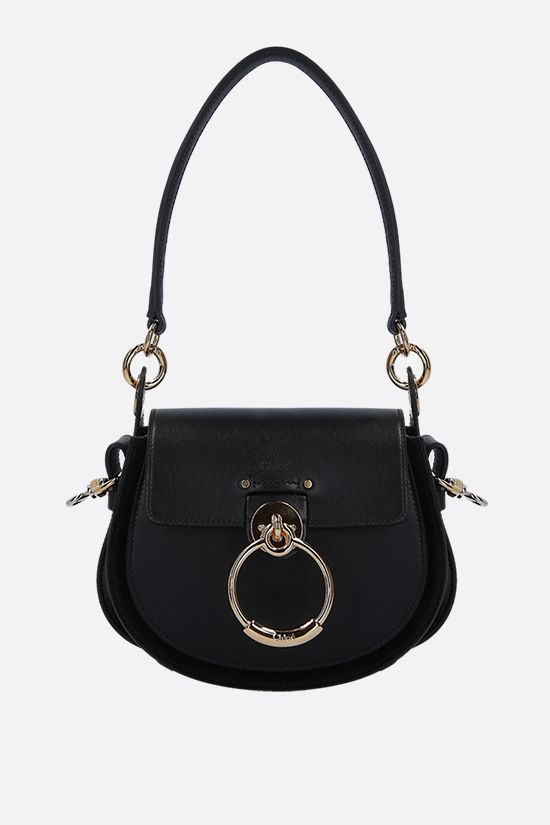 CHLOÈ: Tess small shiny leather and suede shoulder bag Color Black_1