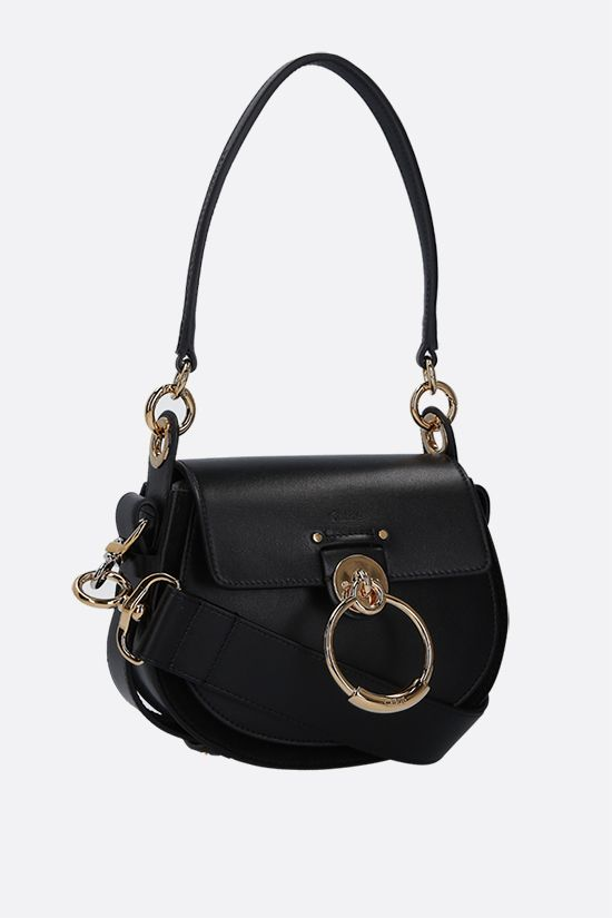 CHLOÈ: Tess small shiny leather and suede shoulder bag Color Black_2