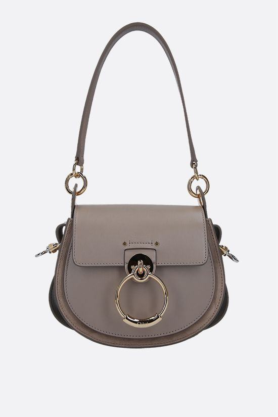 CHLOÈ: Tess small shiny leather and suede shoulder bag Color Grey_1