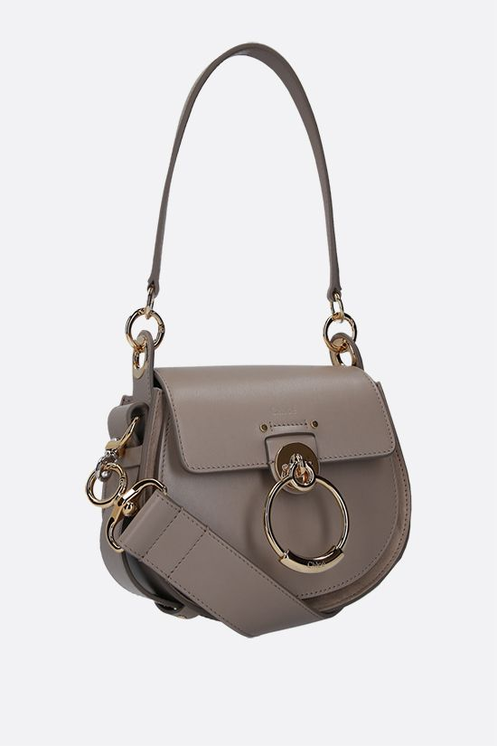 CHLOÈ: Tess small shiny leather and suede shoulder bag Color Grey_2