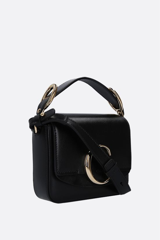 CHLOÈ: Chloè C mini smooth leather and suede shoulder bag Color Black_2