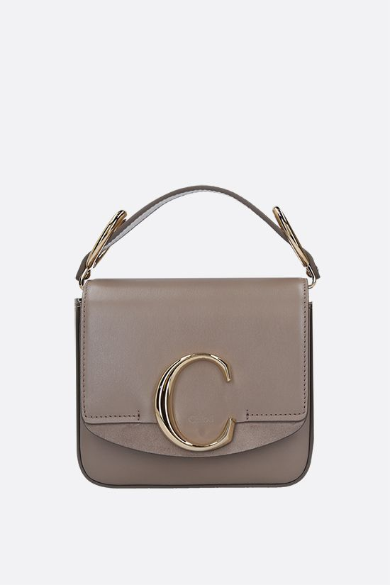 CHLOÈ: Chloè C mini smooth leather and suede shoulder bag Color Grey_1
