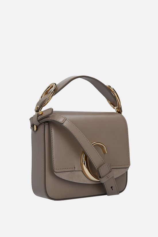 CHLOÈ: Chloè C mini smooth leather and suede shoulder bag Color Grey_2