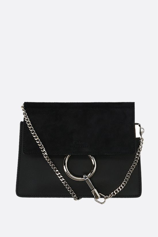CHLOÈ: Faye mini smooth leather and suede crossbody bag Color Black_1