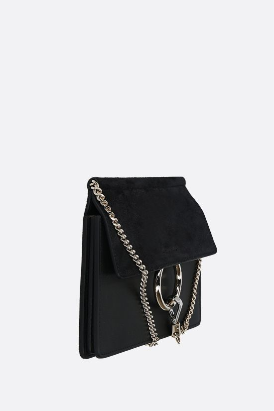 CHLOÈ: Faye mini smooth leather and suede crossbody bag Color Black_2