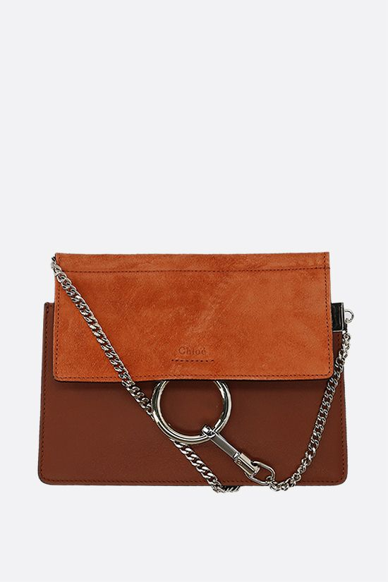 CHLOÈ: Faye mini smooth leather and suede crossbody bag Color Brown_1