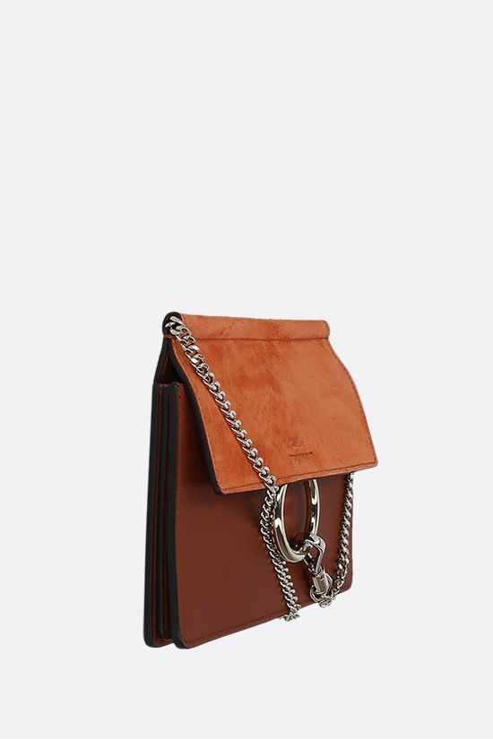 CHLOÈ: Faye mini smooth leather and suede crossbody bag Color Brown_2