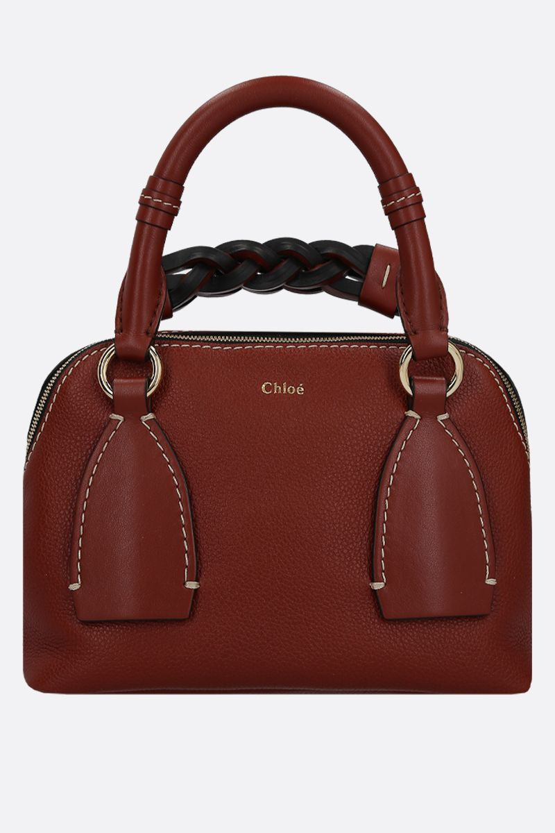 CHLOÈ: Daria medium smooth and grainy leather handbag Color Brown_1