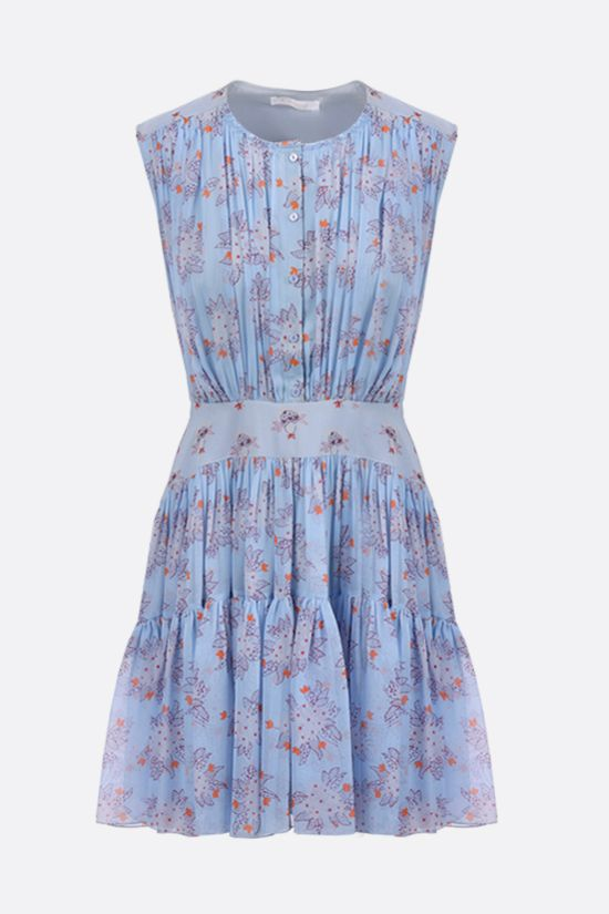 CHLOÈ: floral print silk georgette sleeveless dress Color Blue_1