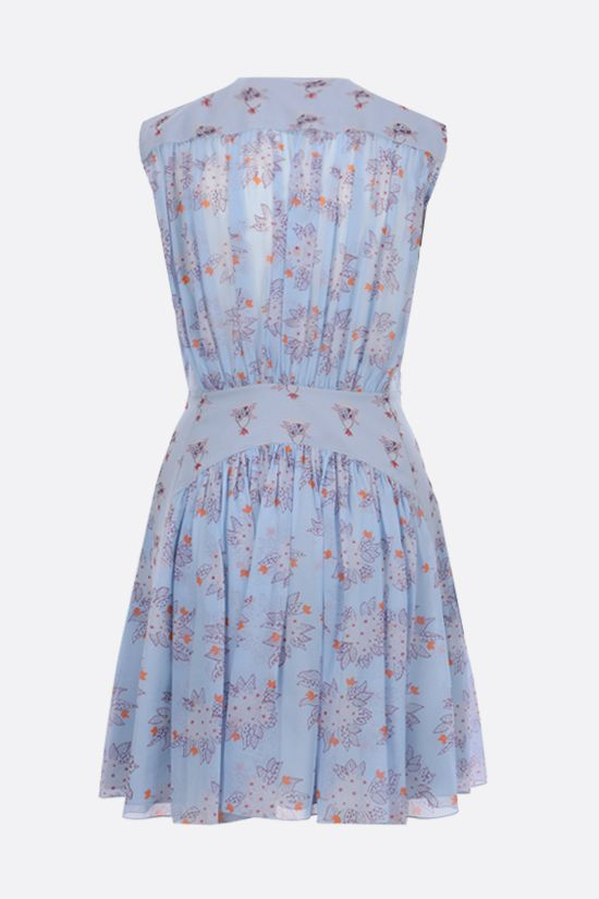 CHLOÈ: floral print silk georgette sleeveless dress Color Blue_2