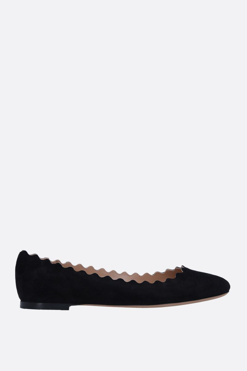 CHLOÈ: Lauren suede ballerinas Color Black_1
