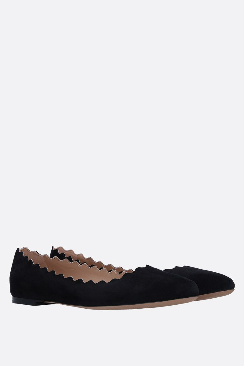CHLOÈ: Lauren suede ballerinas Color Black_2
